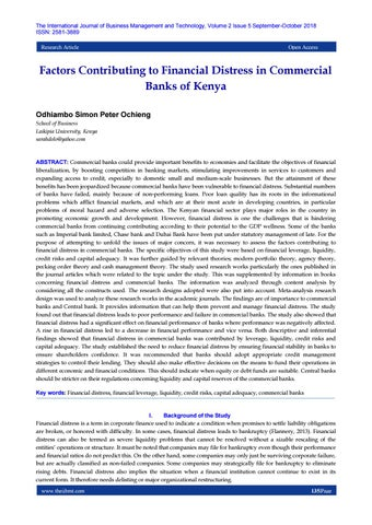 Factors Contributing To Financial Distress In Commercial Banks Of Kenya By The International Journal Of Business Management And Technology Issn 2581 3889 Issuu