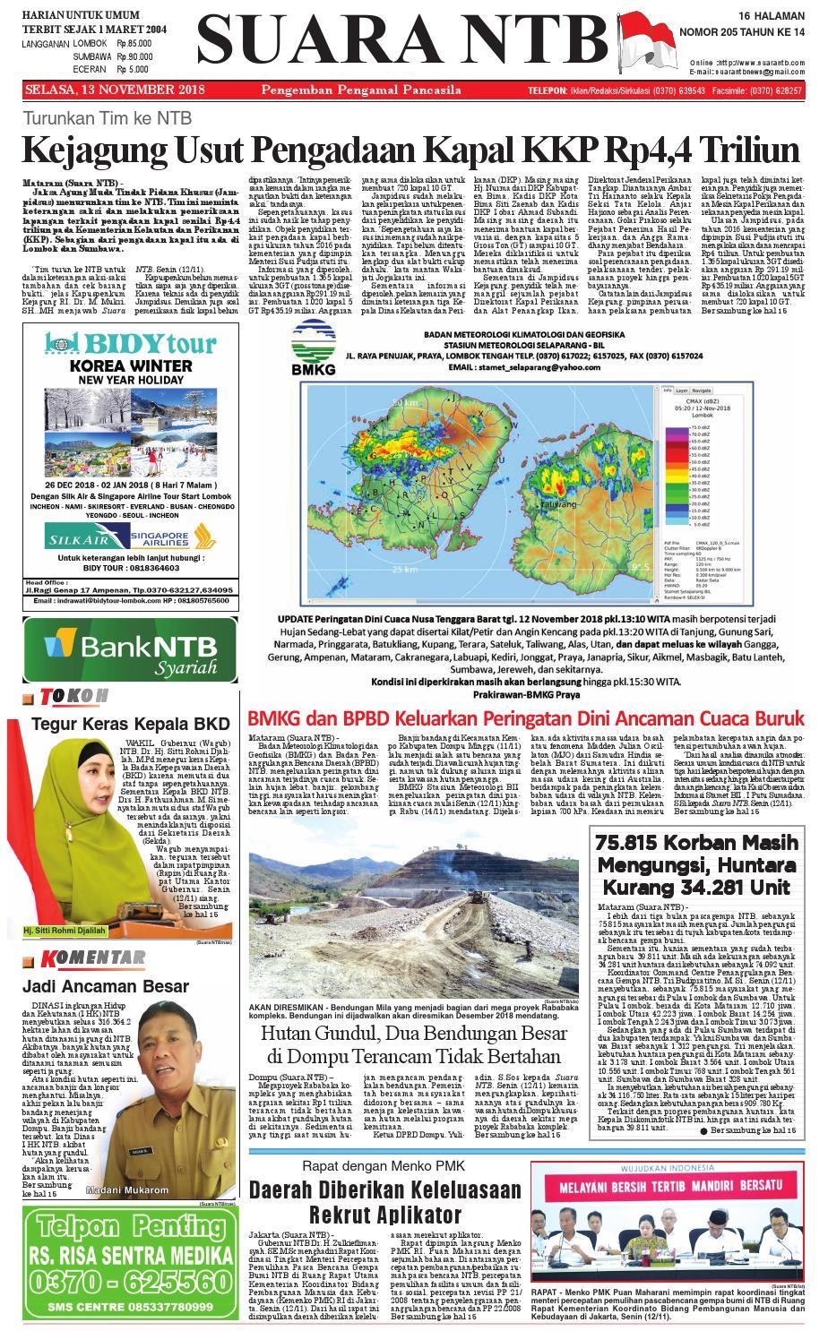 Edisi Selasa 13 November 2018 Suara Ntb By E Paper Kmb Issuu