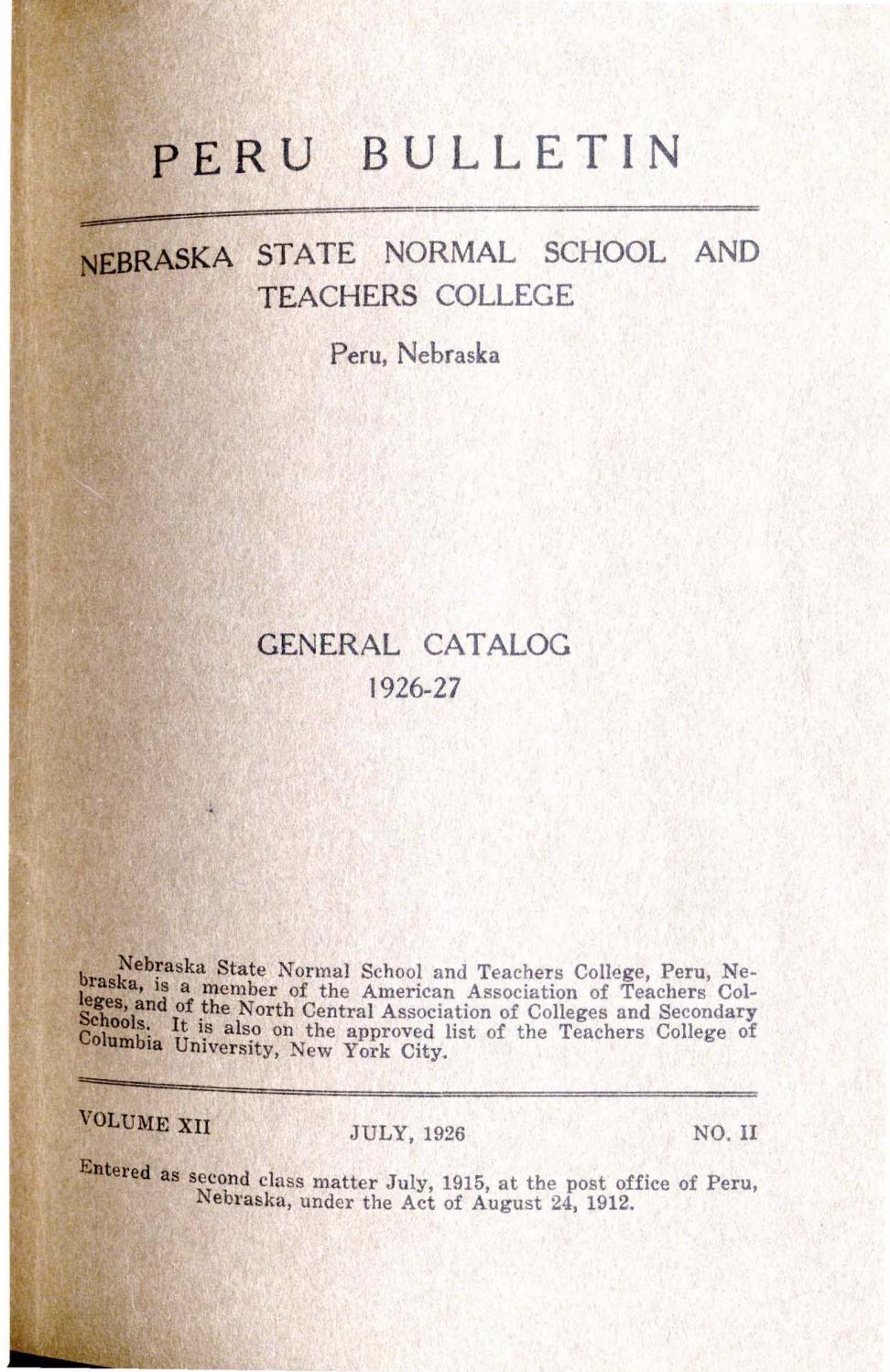 huge discount 370ad 3e162 1926-1927 Catalog of the State Normal School of Nebraska - Peru