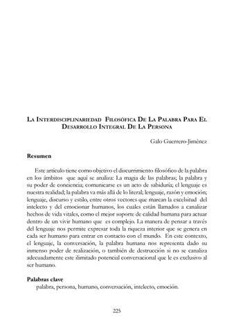 Galo Guerrero-Jiménez Resumen Este artículo tiene como objetivo el  discurrimiento filosófico de la palabra en los ámbitos que aquí se analiza  La  magia de ... 7b6130c861445