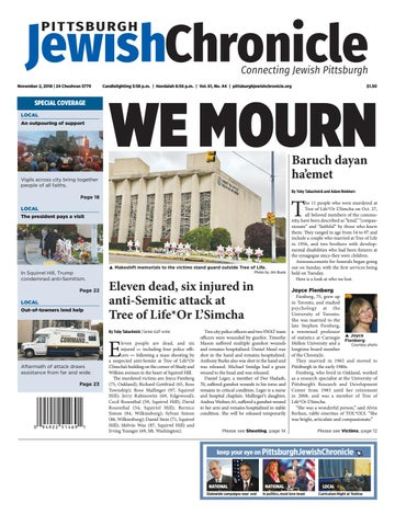 Pittsburgh Jewish Chronicle 1122018 By Angela Leibowicz Issuu