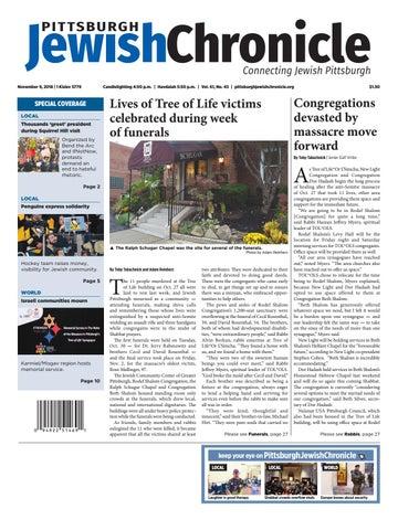 Pittsburgh Jewish Chronicle 11/9/2018 by Angela Leibowicz