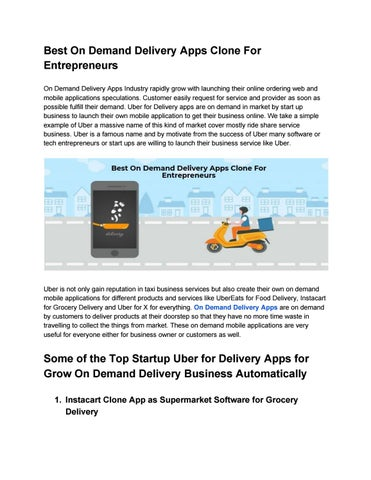Best On Demand Delivery Apps Clone For Entrepreneurs by Alice John
