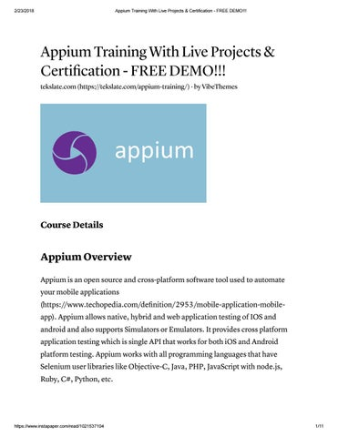 The Best Appium Training Online With 100% Job Assistance by