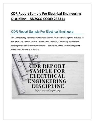 cdr report sample for electrical engineering discipline by