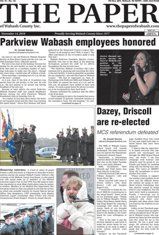 The Paper Of Wabash County Nov 13 2018 Issue By The Paper Of
