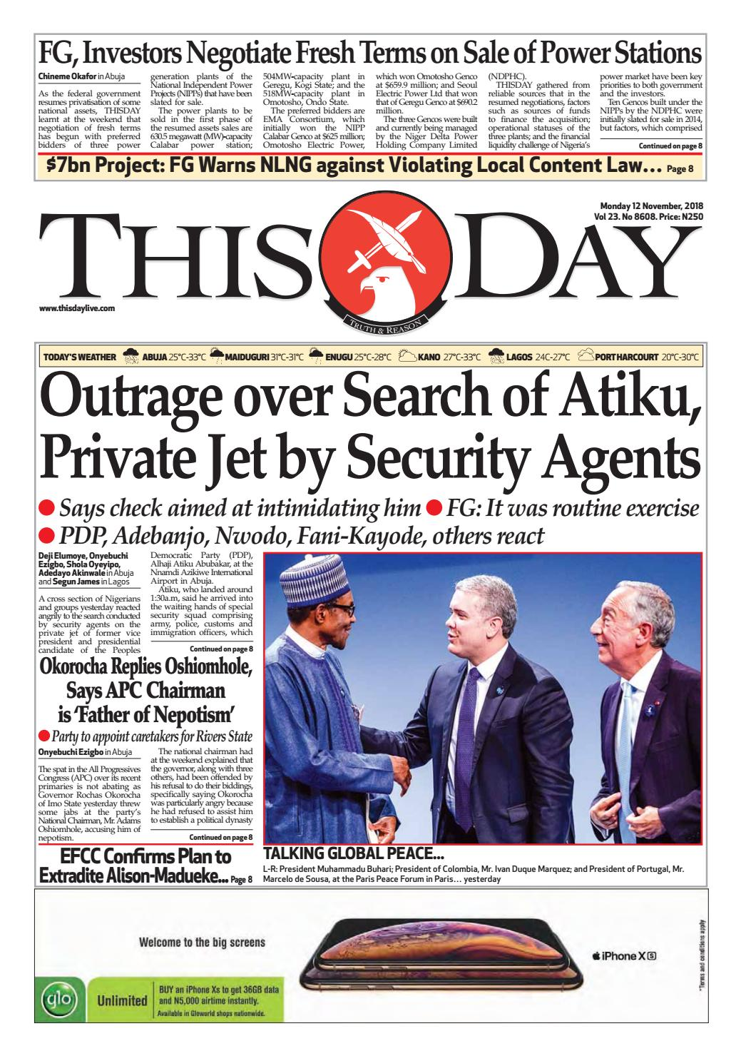 22c4b392d11 MONDAY 12TH NOVEMBER 2018 by THISDAY Newspapers Ltd - issuu