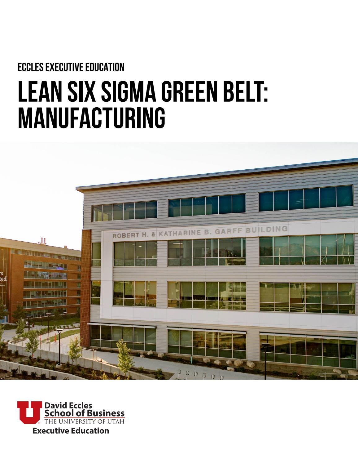 Lean Six Sigma Green Belt Manufacturing Class Guide By University