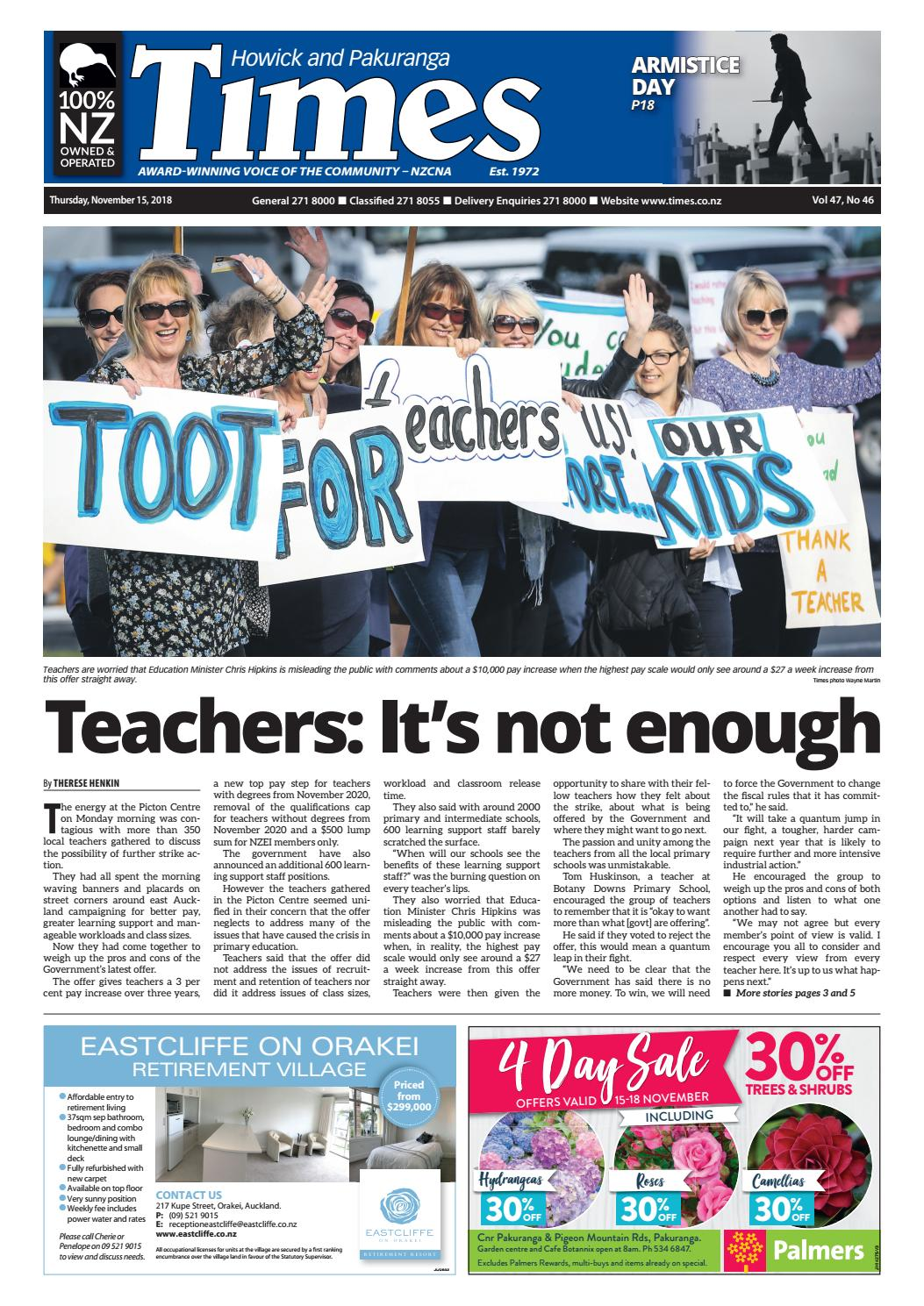Howick and Pakuranga Times, Thursday, November 15, 2018 by
