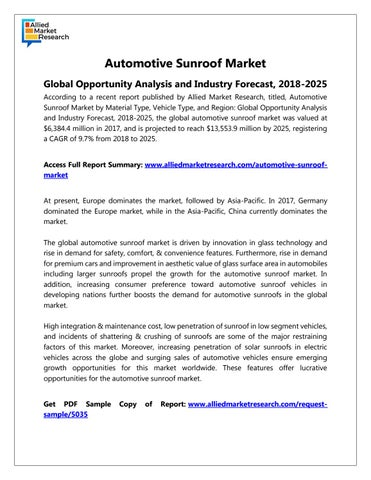 Automotive Sunroof Market Overview by rediffmail920 - issuu