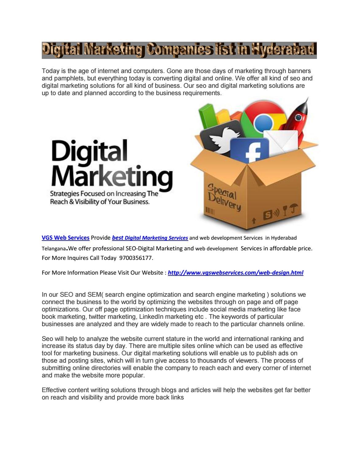 Digital Marketing Companies list in Hyderabad by jackben vgs - issuu