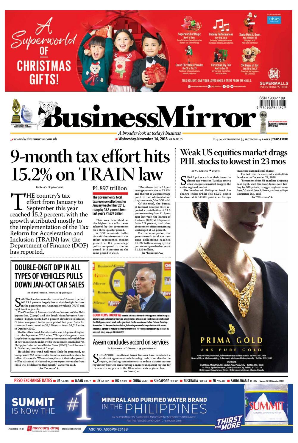 BusinessMirror November 14, 2018 by BusinessMirror - issuu