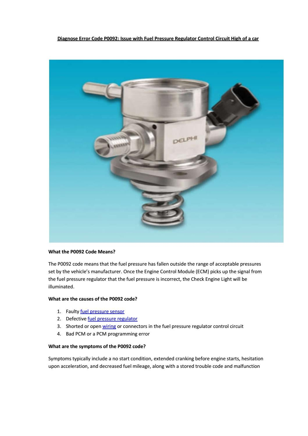 Fuel Pressure Regulator Symptoms - LA Auto Show