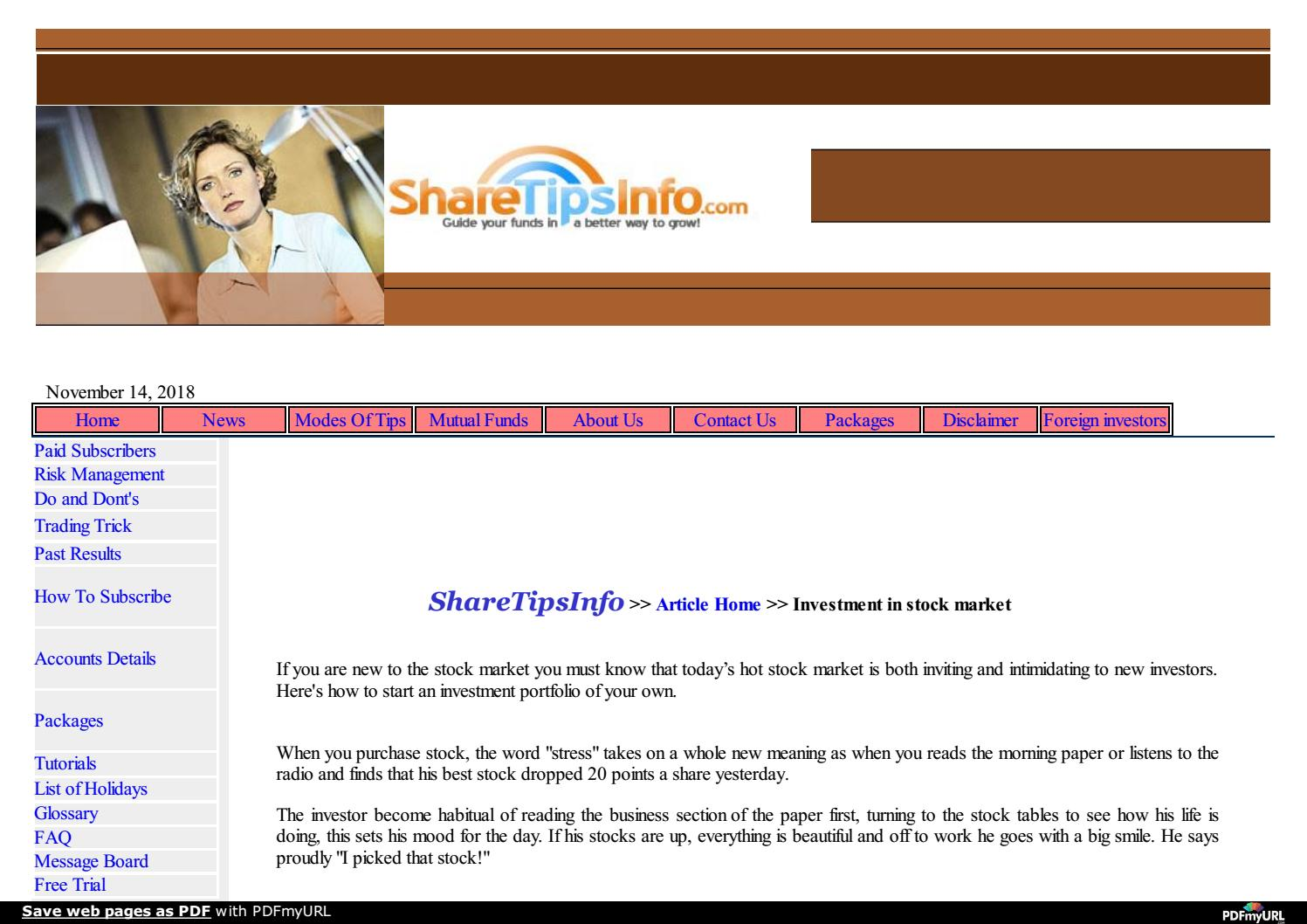 SHARETIPSINFO com:Investment in stock market tips and tricks by