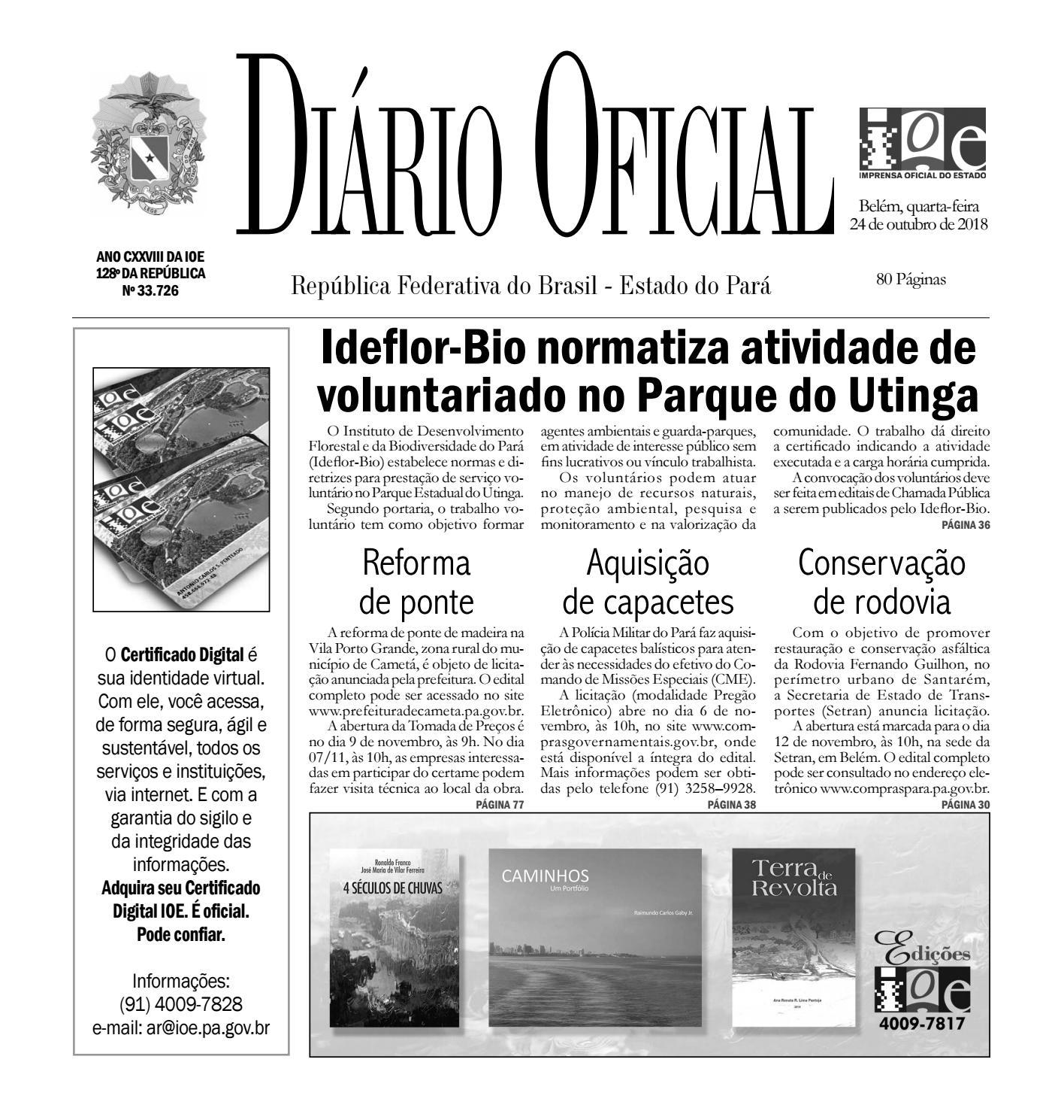 41e35f64e4ceb Diário Oficial do Estado do Pará by Dayse Arruda - issuu