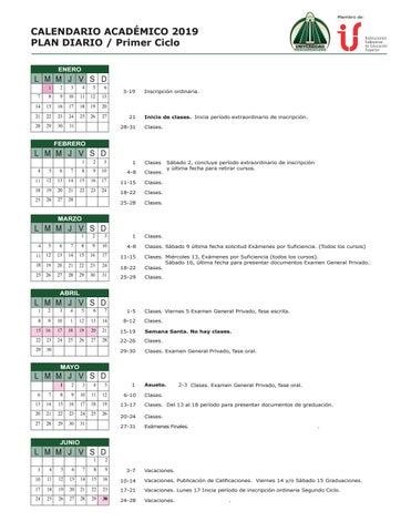 Calendario Diario 2019.Calendario Academico 2019 Plan Diario By Universidad