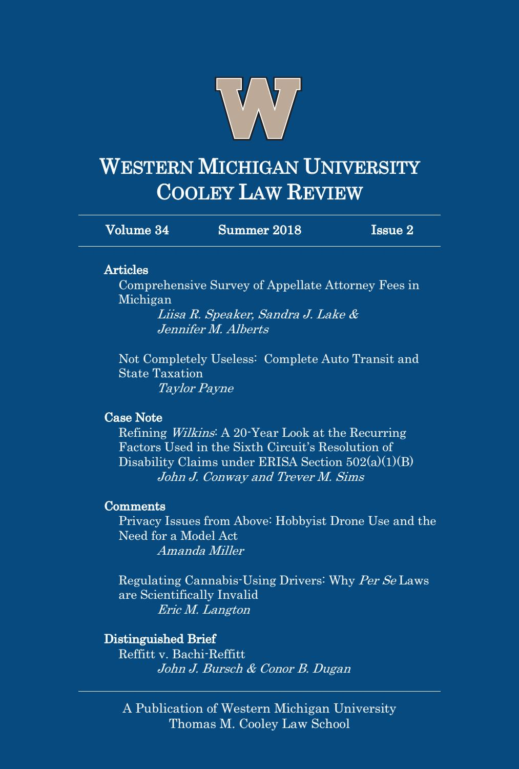 Western Michigan University Cooley Law Review Volume 34 Summer 2018 Issue 2 By Wmu Cooley Law School Issuu