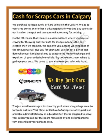 Top Pay For Junk Cars >> Cash For Scrap Cars In Calgary By Top Cash For Junk Car Issuu