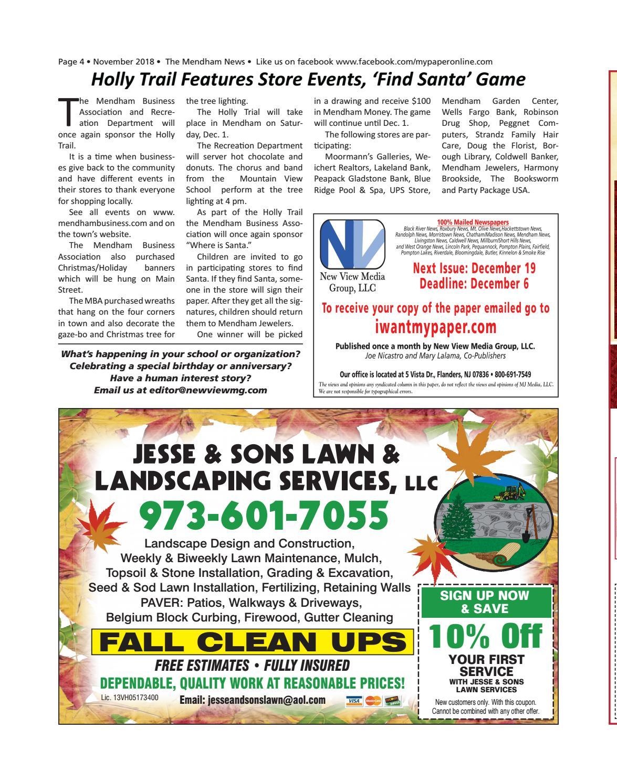 Mendham News - Nov 2018 by My Life Publications  Maljon LLC