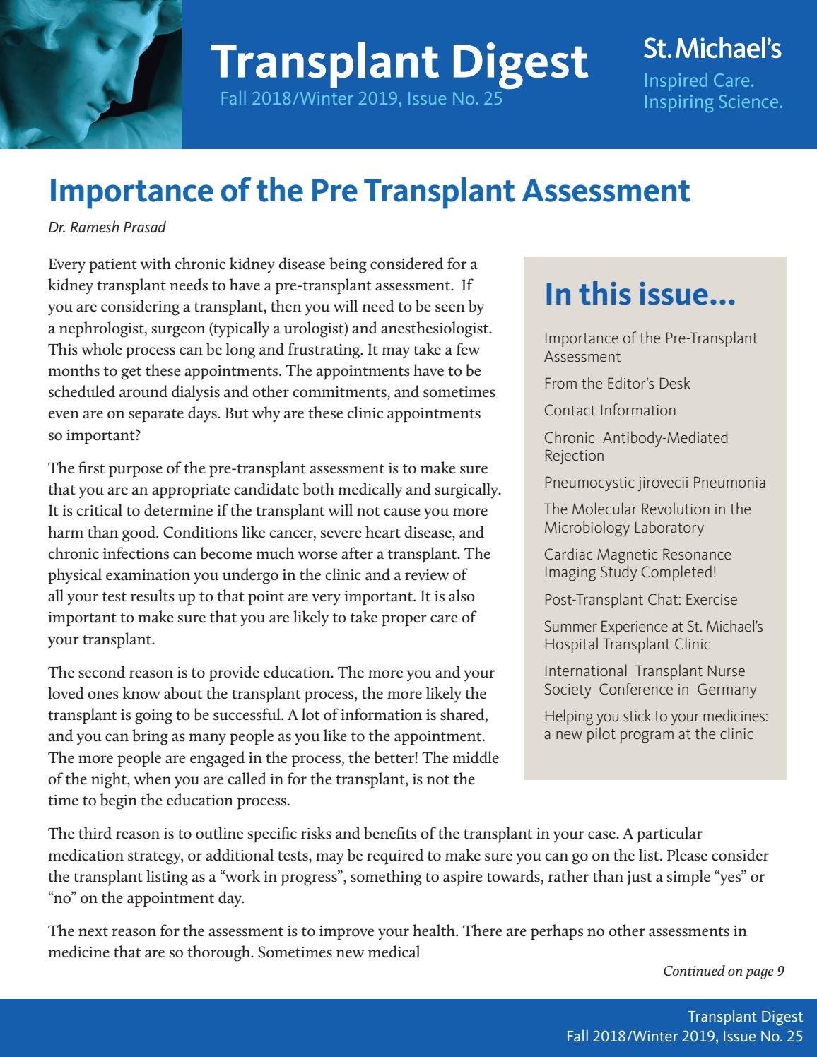 Transplant Digest - Issue 25 (Fall 2018/Winter 2019) by St