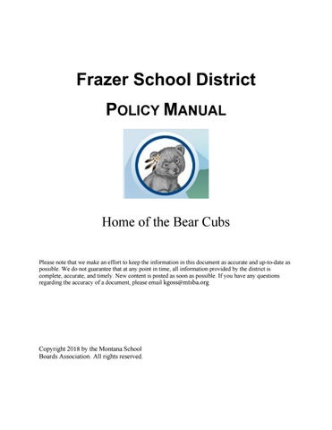 Frazer Public Schools Policy Manual by Montana School Boards