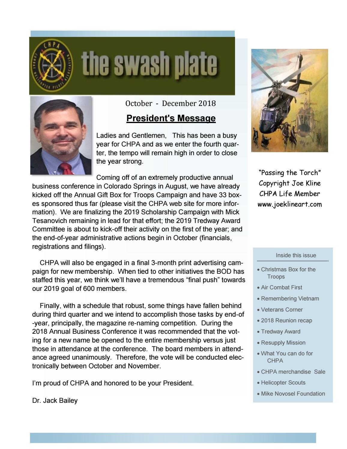 the Swash Plate Oct 2018 by Combat Helicopter Pilots