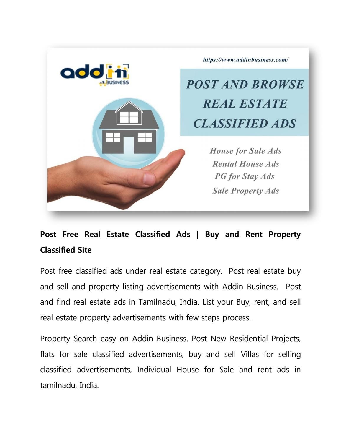 Post Free Real Estate Classified Ads | Buy and Rent Property