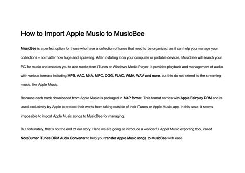 How to Import Apple Music to MusicBee by Nancy - issuu
