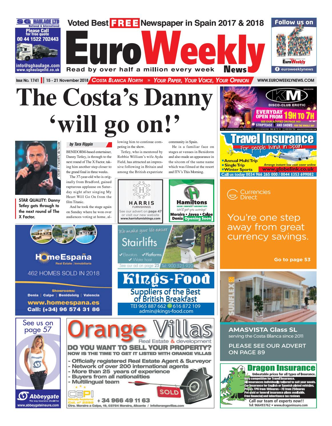 Euro Weekly News - Costa Blanca North 15-21 November 2018 Issue 1741 by  Euro Weekly News Media S.A. - issuu