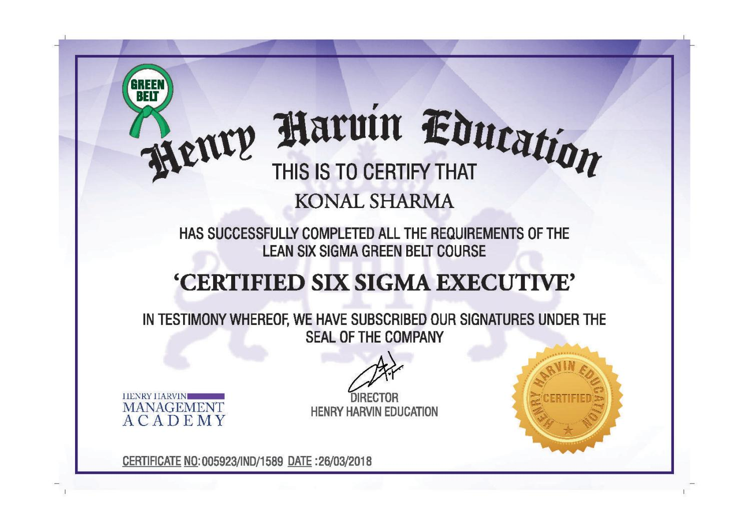 Lean Six Sigma Green Belt Certification Henry Harvin Six Sigma