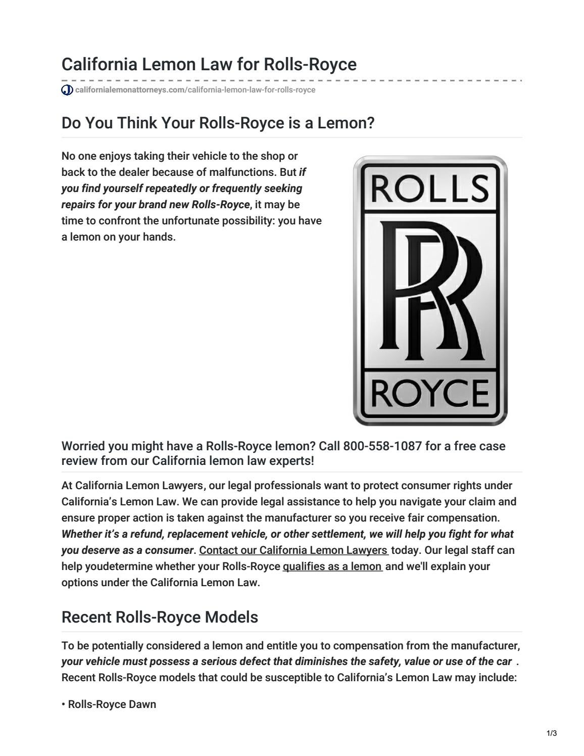 California Lemon Law >> California Lemon Law For Rolls Royce By California Lemon Attorneys