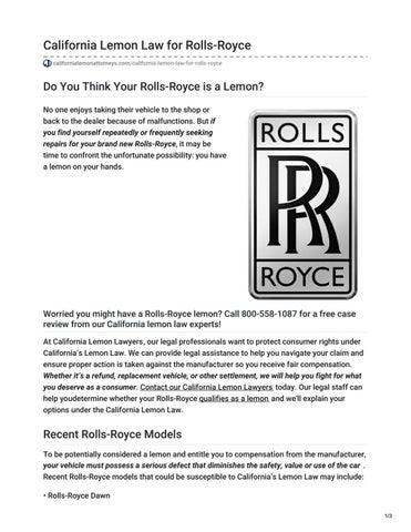 Lemon Law California >> California Lemon Law For Rolls Royce By California Lemon