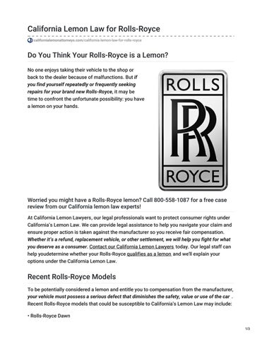 Lemon Law California >> California Lemon Law For Rolls Royce By California Lemon Attorneys