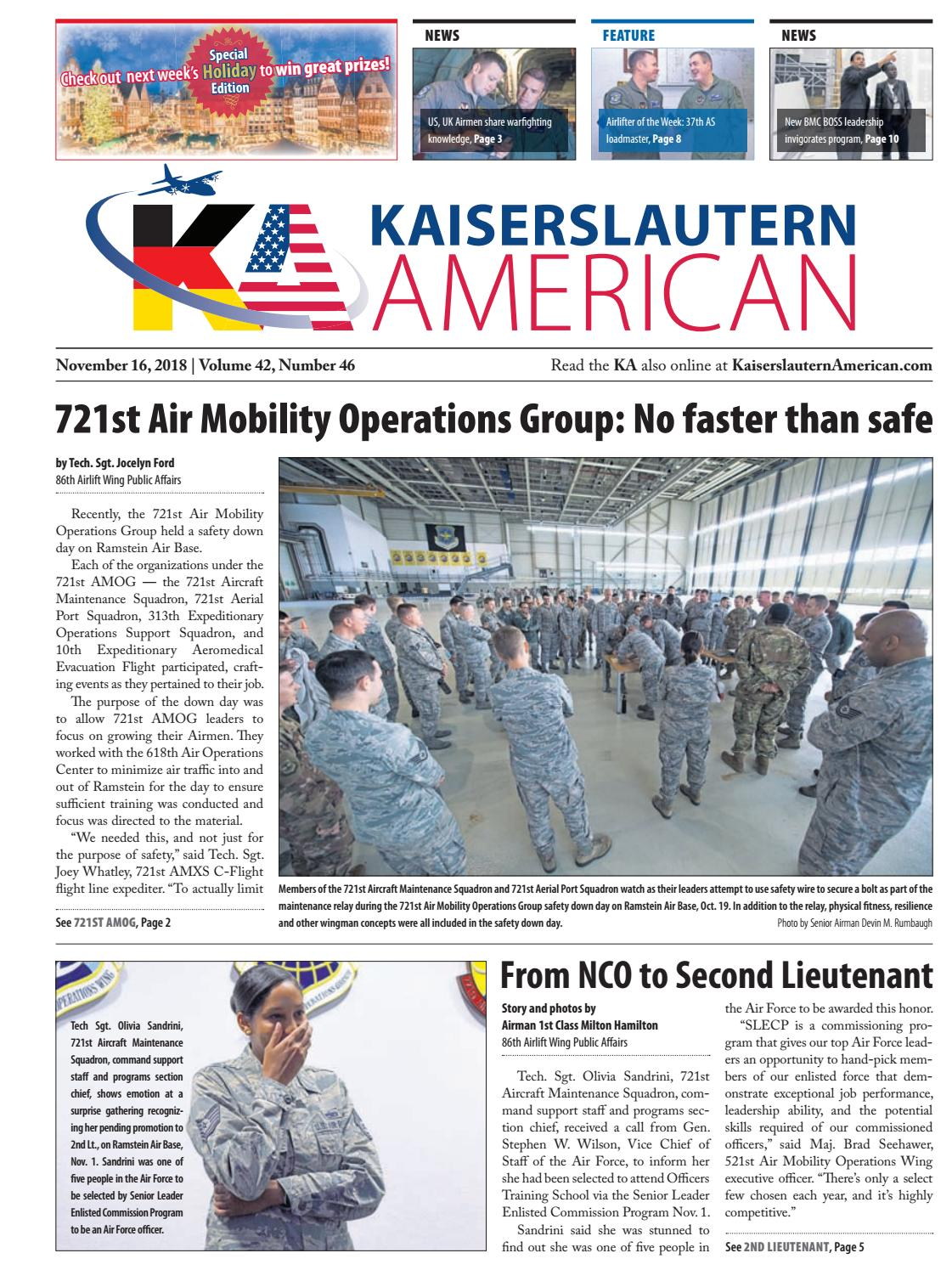 Kaiserslautern American, November 16, 2018 by AdvantiPro GmbH - issuu
