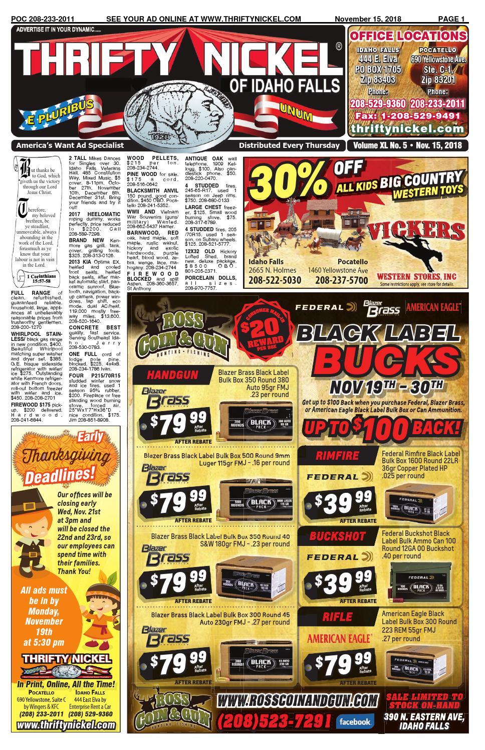Thrifty Nickel Of Idaho Falls 11 15 18 By Thriftynickelif
