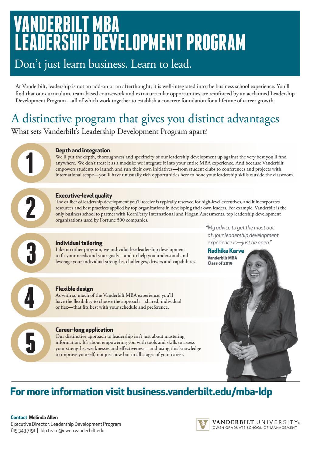 Mba Leadership Development Program By Vanderbilt Owen Graduate School Of Management Issuu