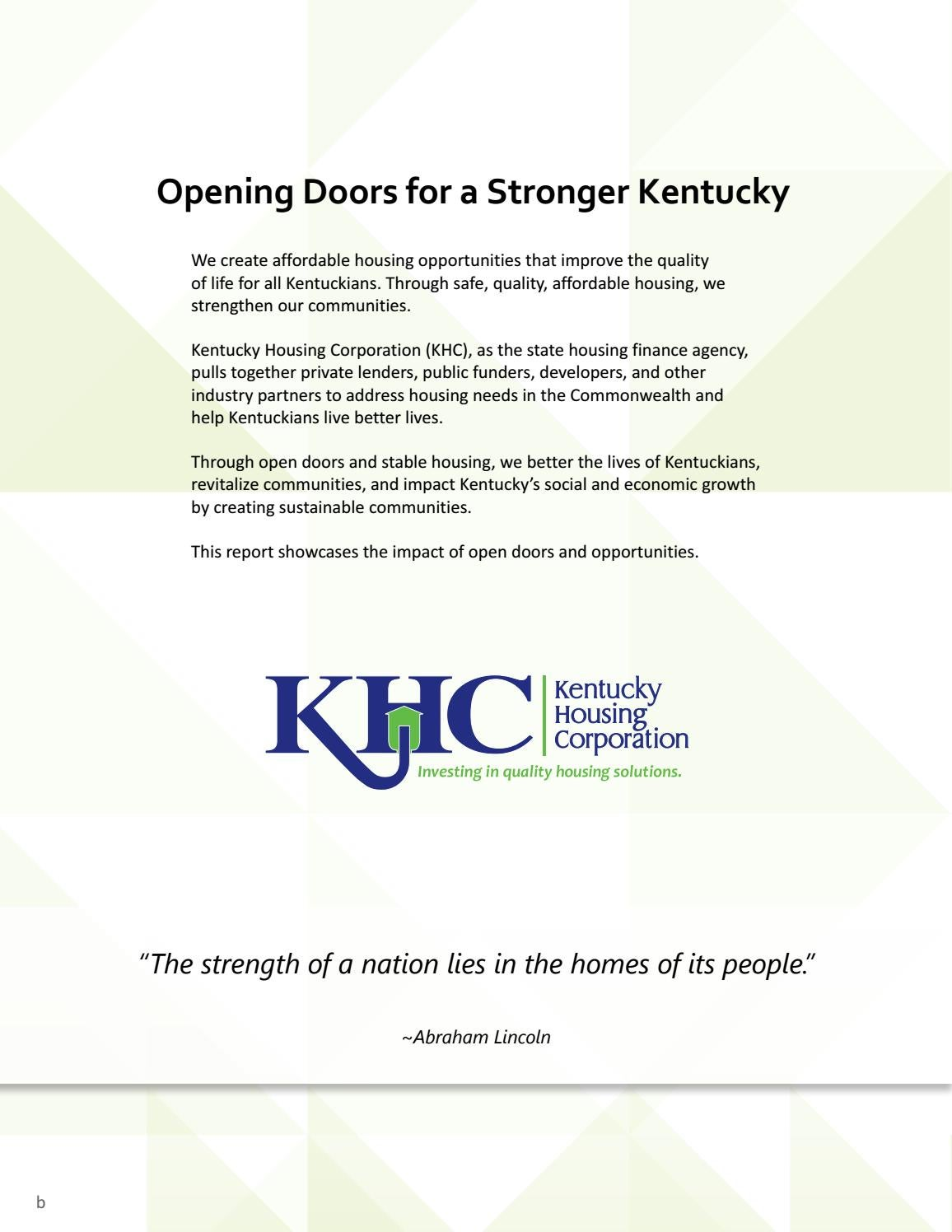 2017 Investment Impact Report by Kentucky Housing Corporation - issuu