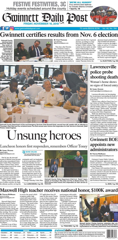 November 16, 2018 — Gwinnett Daily Post by Gwinnett Daily