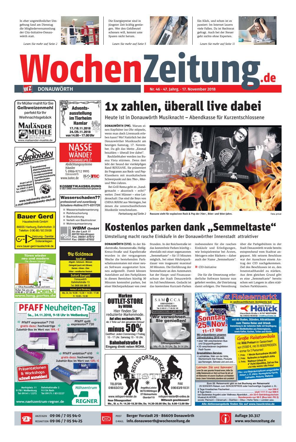 Wochenzeitung Donauwörth Kw 4618 By Wochenzeitung Sonntagszeitung