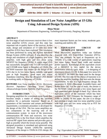 Design and Simulation of Low Noise Amplifier at 15 GHz Using