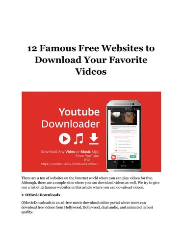 12 Famous Free Websites to Download Your Favorite Videos by Martin Josh -  issuu
