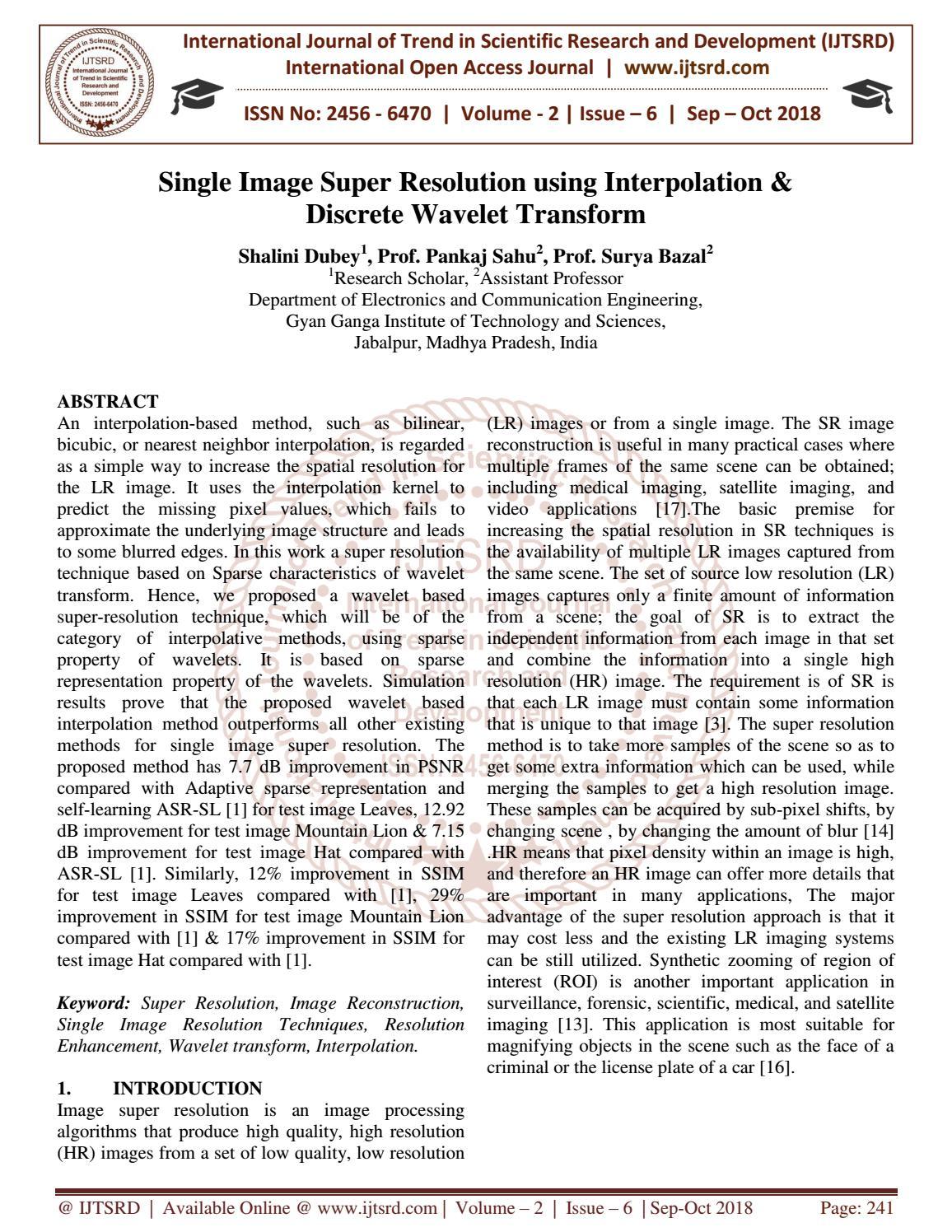 Single Image Super Resolution using Interpolation and Discrete