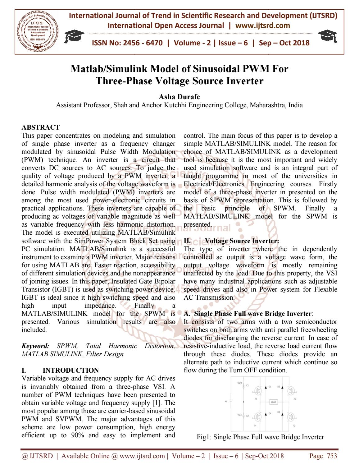 Matlab Simulink Model of Sinusoidal PWM For Three-Phase