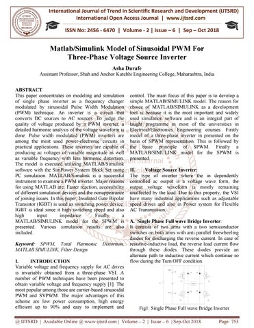 Matlab Simulink Model of Sinusoidal PWM For Three-Phase Voltage