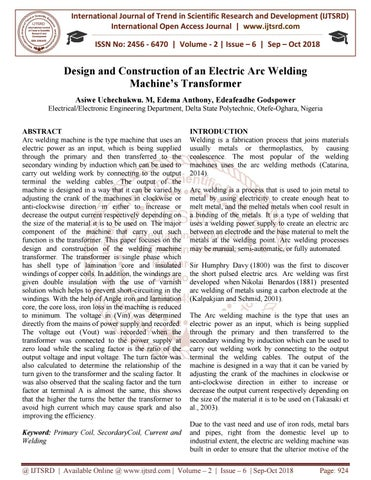 Design and Construction of an Electric Arc Welding Machine's