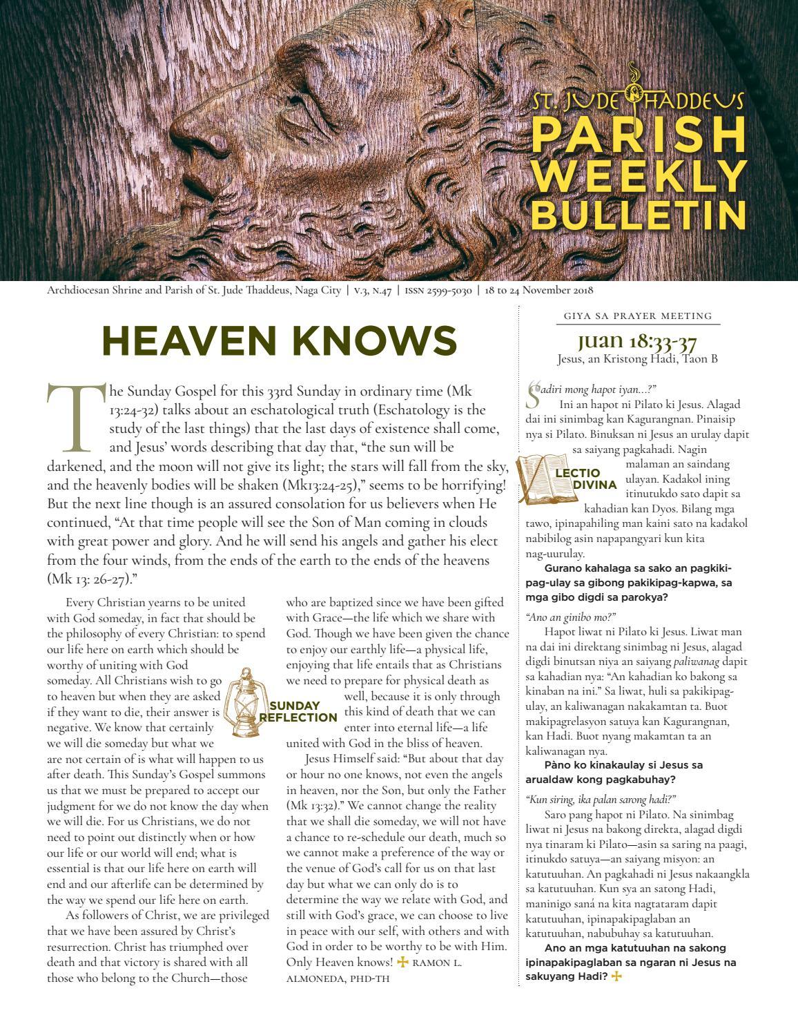 SJTP Parish Weekly Bulletin V3,N47 (November 18, 2018) by St