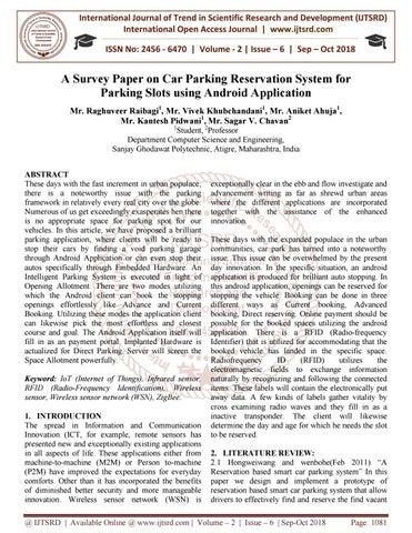 A Survey Paper on Car Parking Reservation System for Parking