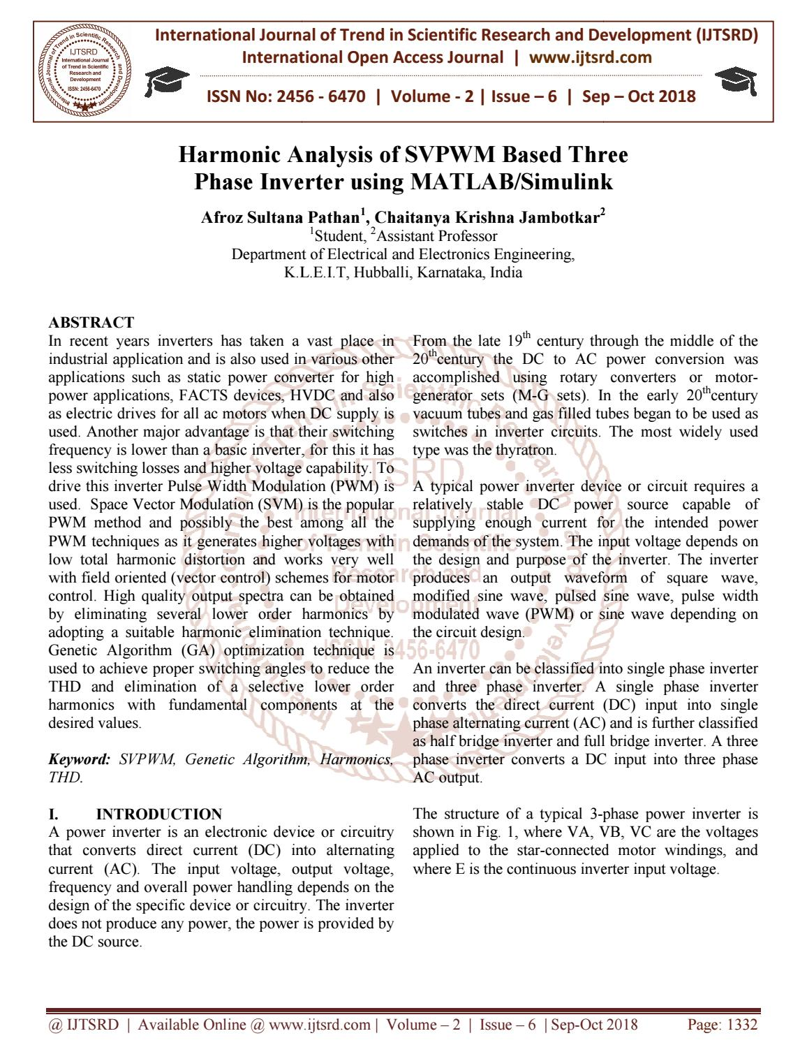 Harmonic Analysis of SVPWM Based Three Phase Inverter using MATLAB