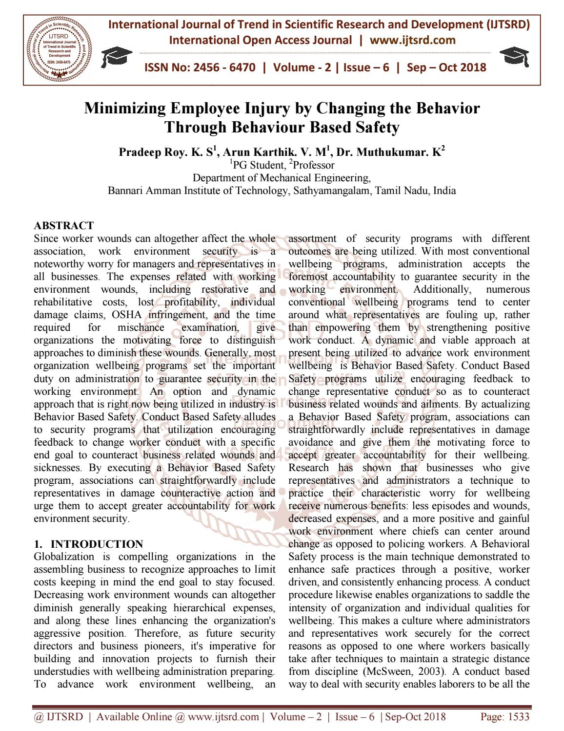 Minimizing Employee Injury by Changing the Behavior Through