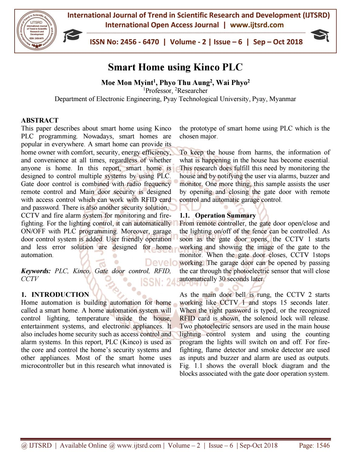 Smart Home using Kinco PLC by International Journal of Trend